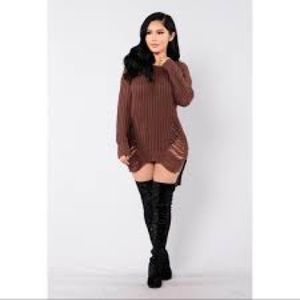 Fashion Nova distressed sweater dress in BEIGE